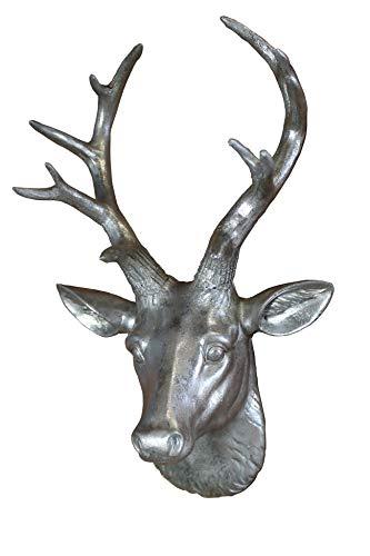 Hirsch Kopf Büste Wanddeko Geweih Deko Tier Figur Skulptur Statue Elch Rentier