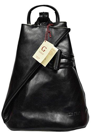 Schöne praktische Leder Brauner Lederrucksack Nilde Marrone schwarz