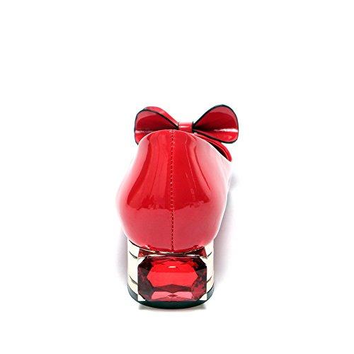 AllhqFashion Femme Pointu à Talon Bas Verni Couleur Unie Tire Chaussures Légeres Rouge