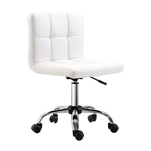 Homcom sedia girevole regolabile in pelle sintetica, bianca, 46 x 51x76-88 cm