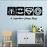 PAWANG Autocollant Mural Amovible Spiderman Capitaine Amérique Super Héros Sticker Enfants Garçons Chambre Décor Hero Style Peinture Murale 57 * 21 cm