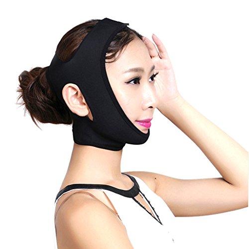 Sharplace V Gesichtsformer Maske, Anti-Falten und Haut zu Straffen Doppelkinn zu Abnehmen Gesicht Former Band Schwarz Gesichtsbandage - Schwarz-L