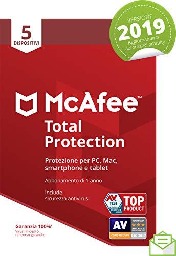 Mcafee Total Protection 2019 | 5 Dispositivi | Abbonamento di 1 Anno|Pc/Mac/Smartphone/Tablet