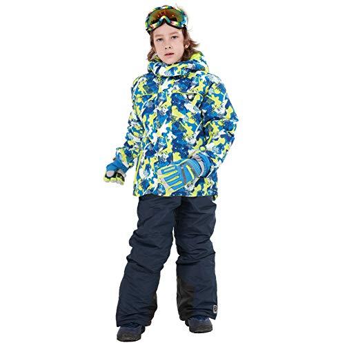 LPATTERN Traje de Esquí para Niños/Niñas Traje Conjunto de Nieve Impermeable para Deportes de Invierno, Azul Oscuro+Azul Oscuro, Talla:116-122/5-6 años