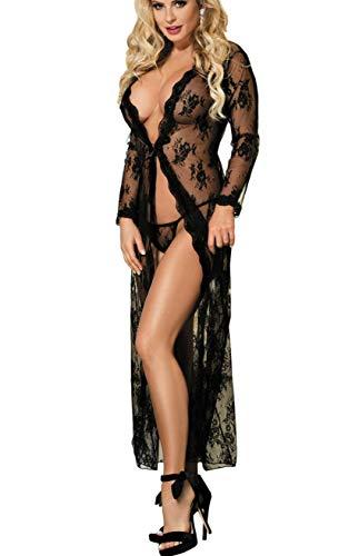 Sexy Schwarzen G-string (marysgift Transparent Kimono Blumen-Spitze Negligee Reizwäsche Nachtwäsche Morgenmantel Babydoll Lingerie Damen Dessous Set mit G-String)