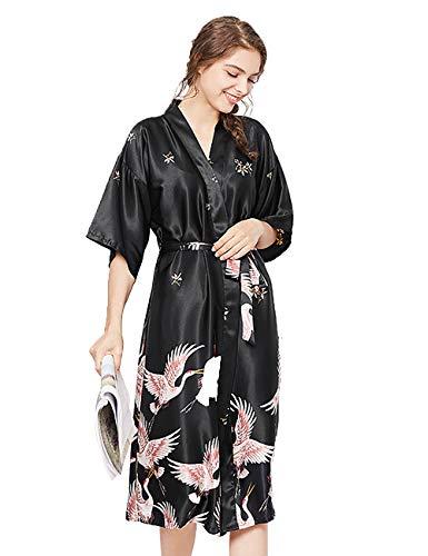 HAINE Damen Kurze Kimono-Roben Satin Spitze Morgenmantel Nachthemd Kurze Bademantel Brautjungfer Nachtwäsche Pyjamas (Schwarz Größe L) - Seide Kimono Für Kurze Roben Frauen