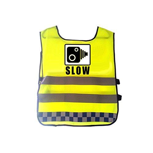 Ahead Solutions Hi Viz Reflektierende Warnweste Polizei Kamera kariert blau Klebeband Transparent Bold Nachricht Slow, blau