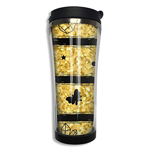 Gold Glitter 14 Oz Tumbler-Vacuum Insulated Double Stainless Steel Water Bottle Travel Coffee Mug Cup -