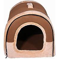 Lovelysunshiny Casa para Mascotas Cama para Perros marrón Gatos para Mascotas Cojín Colchón para Dormir Lavable