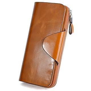 Ausverkauf-Yaluxe Damen RFID Blockierung Luxury Leder Geldbörse Reißverschluss Clutch braun