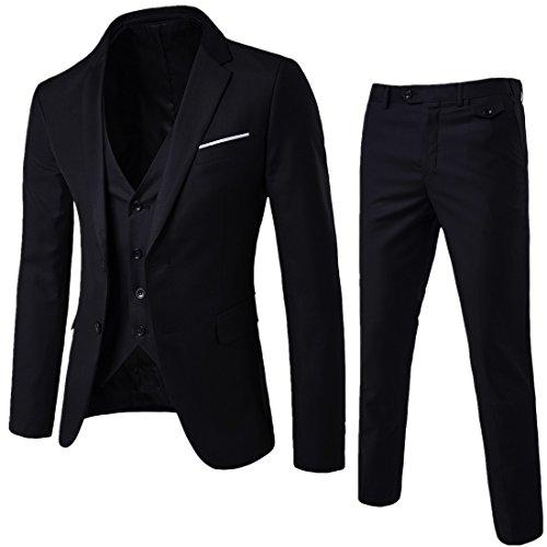 WEEN CHARMHerren Kerbe Revers Slim Fit 3-teilige Anzug Blazer Jacke Tux Vest & Hose Set