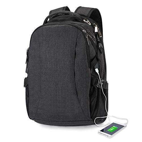Laptop-Rucksack, FDG Business Travel Diebstahlsicherer 14-Zoll-Casual-Rucksack mit USB-Ladeanschluss, wasserdichter Schulrucksack für Damen,Herren-Tasche, Arbeitsrucksack-Schwarz