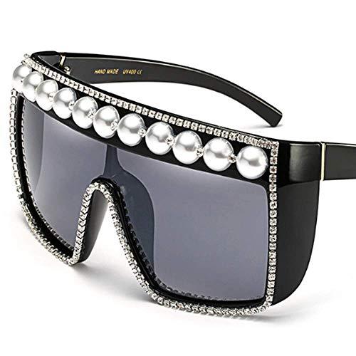 Lisa旗舰店 Sonnenbrillen Europa und die Vereinigten Staaten Mode Perlen Strass Sonnenbrillen Präzision Produktion verbunden großen Rahmen Winddicht Sonnenbrillen,White1