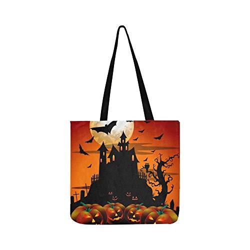 Beängstigend halloween kürbis mond alte leinwand tote handtasche umhängetasche crossbody taschen geldbörsen für männer und frauen einkaufen (Beängstigend Häuser Für Halloween)