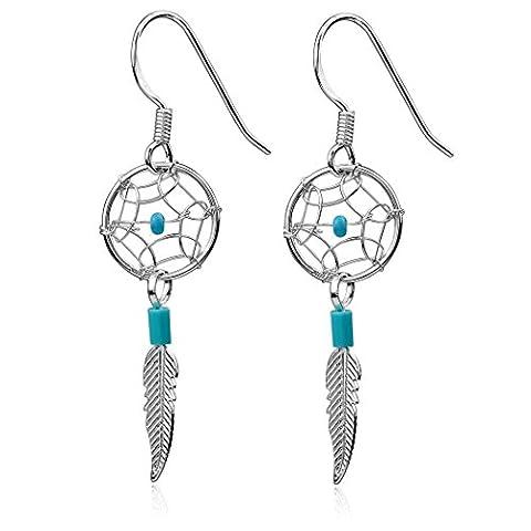 Argent Sterling Imitation Turquoise Attrape Rêves Plume Minuscules Boucles d'oreille