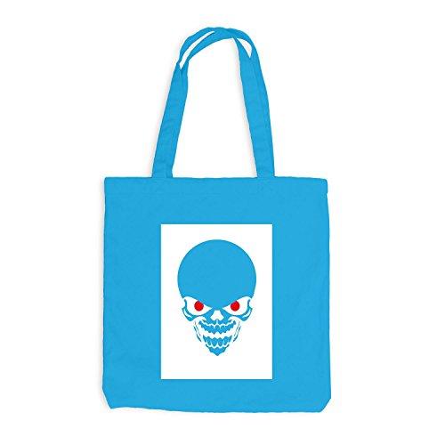 Jutebeutel - Red Eyed Halloween Skull Horror - Skelett Bone Trick Or Treat Surfblau