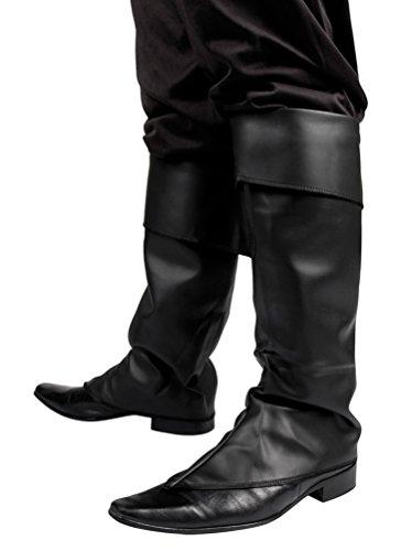 Karneval-Klamotten' Kostüm Stulpen schwarz Simpel Zubehör Karneval - Schwarze Piraten Kostüm Schuhe