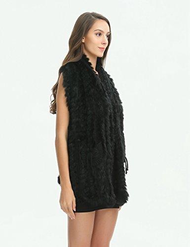 Ferand elegante, ärmellose, gestreifte und gestrickte Kaninchen Pelz Weste Jacke mit zwei Taschen und Häkeldesign am Rücken Schwarz