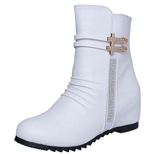 Mashiaoyi Donna Inner-increaser Diamante Round-Toe Piatto Zip Metallo Stivaletti Bianco