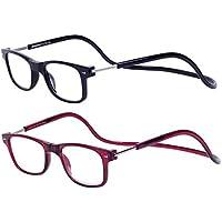 Magnéticas Gafas de lectura Plegables 2-Pack Negro Rojo +1.5 Presbicia  Vista para Hombre y Mujer Montura Regulable. 96786fb50919