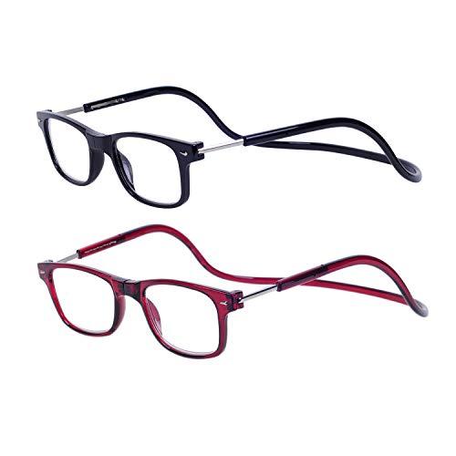 2 Stueck Lesebrille Lesehilfe Schwarz Rot für Herren und Damen +1.5 (50-54 Jahre) Faltbare Einstellbare mit Magnetverschluss und Clip für Alterssichtigkeit und Presbyopie