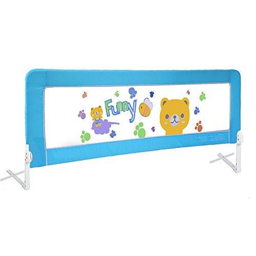 Kinderbettgitter Rausfallschutz Bett Bettgitter Faltbar Gitterbett für Kinderbett Jugendbett Einzelbett Doppelbett Tagesbett (180cm*65cm, blau)