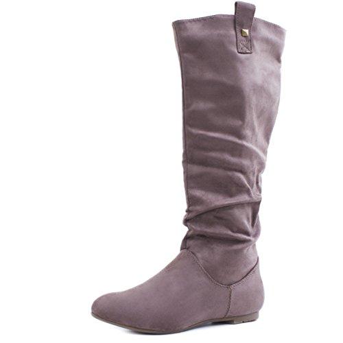 Trendige Damen Hochschaft Stiefel Schlupf Boots in Lederoptik Khaki Wildlederoptik