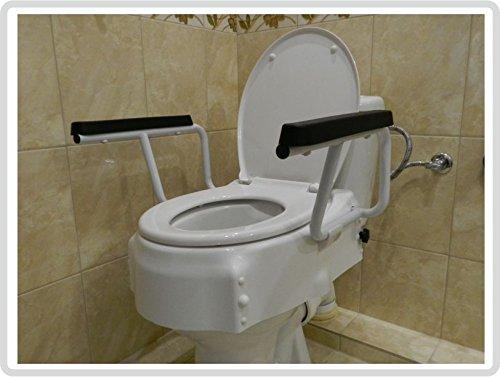 LUXUS Toilettensitzerhöhung / Toilettensitz mit Deckel und mobilen Armlehnen - 3 fach höhenverstellbar