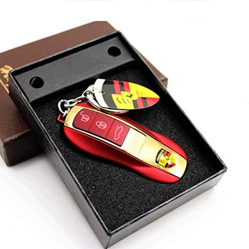 HEXIAOPENG, Autoschlüssel-Form, USB-Ladeanzünder, mit Schlüsselring, elektronischer Zigarettenanzünder, Standard-Feuerzeug, rot