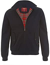 merc Mens London Classic Retro MOD Check Tartan Lined Harrington Jacket - Navy Blue