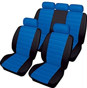 Ford Escort Cosmos Carrera Leatherlook Universal Full Set Car Seat Covers in BLACK & BLUE