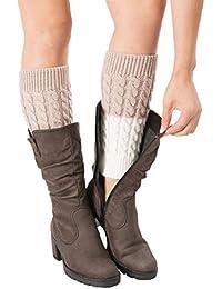 Femmes jambière Crochet Bicolore Boot Brassard Toppers