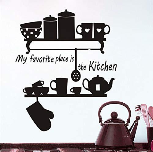 Wiwhy Mein Lieblingsplatz Ist Die Küche Teekanne Cup Geschirr Regal Quote Wand Aufkleber Home Decor Große Wandbilder Dekorieren Vinyl Removable