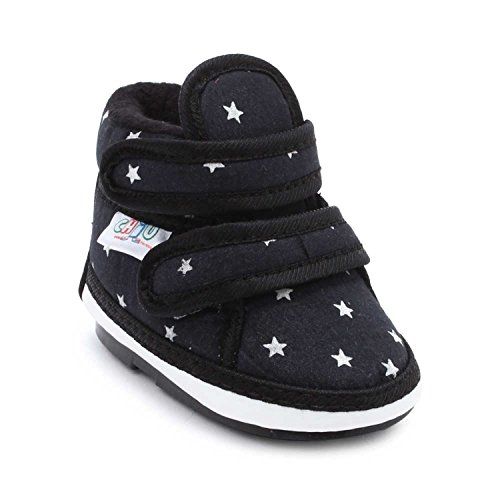 CHiU Chu-Chu Baby Boy's and Baby Girl's Black Shoes with Double Strap (8 UK, Foot Length - 14.9 cm, 24-28 Months)