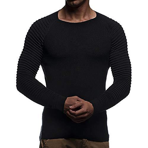 Xmiral Top-Bluse Herren Falten gestreiftes drapiertes Strick Langarm T-Shirt Einfarbig Slim Fit Pullover S-XL(XL,Schwarz)