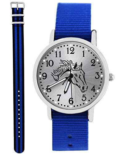 Uhr Pferd Analog Quarz mit 2 Textilarmband Royalblau schwarz blau 10668 ()
