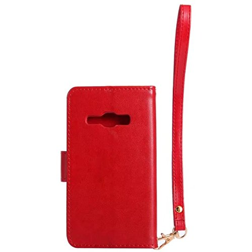 Horrizontal Folio Stand PU Ledertasche, Magnetverschluss Wallet Geldbörse Abdeckung Fall mit Lumious Shining Effekt & Lanyard für Samsung Galaxy J120 ( Color : Rose-red ) Red