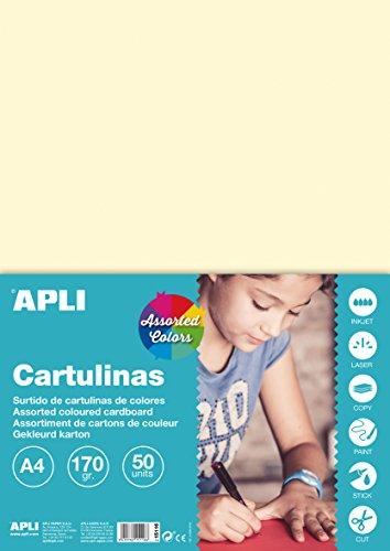 APLI 15116 - Cartulinas surtido pastel A4 170 g 50 hojas