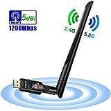 Clé Wifi Adaptateur, Clé USB WiFi Mini AC600 Mbps Double Bande Wireless 5GHz...