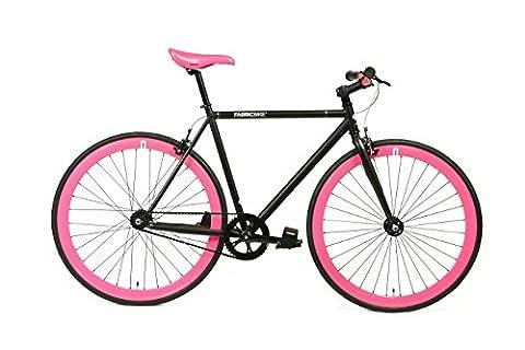 FabricBike- Vélo Fixie Noir, Fixed Gear, Single Speed, Cadre Hi-Ten Acier, 10Kg (Matte Black & Fuchsia, S-49)