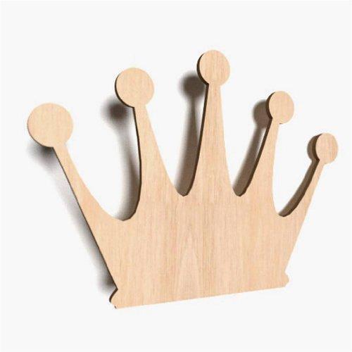Holz-krone (10x Prinzessin Königin Krone blank Holzschnitt Holz Basteln Malen Deko)