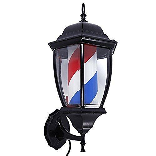 Retro Barbierstab Leuchtkugel LED Licht Haar Salon Barbier Geschäft Friseur Schild rot Weiß Blau Beleuchtende Rotierende Streifen Wasserdicht Veranda Stil, 1, ()
