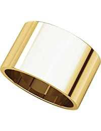 14ct Yellow Gold, Flat Wedding Band 12MM (sz H to Z5)