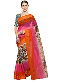 Rachna Sarees Women's Chanderi Silk Digital Printed Saree With Blouse Piece (Fotozen610_Multicolour_freesize)