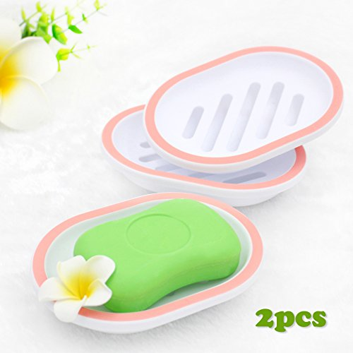 Egomarket 2-pack Soap Dish, Soap Holder, Soap Saver, Easy Cleaning, Dry, Stop Mushy Soap
