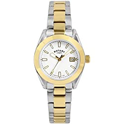 Rotary Women's Quartz Watch with White Dial Analogue Display and Two Tone Stainless Steel Plated Bracelet LB00356/01