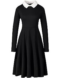 Enfei Frauen Langarm Casual Peter Pan Kragen Fit Flare Baumwolle Schwarz  Plissee Midi Halloween Kleid für 4127a9eebf