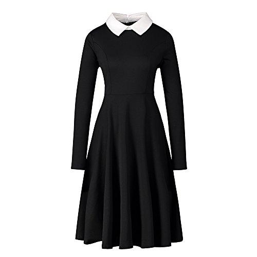 Enfei Frauen Langarm Casual Peter Pan Kragen Fit Flare Baumwolle Schwarz Plissee Midi Halloween Kleid für Frauen (Weiße Kleider Für Halloween)