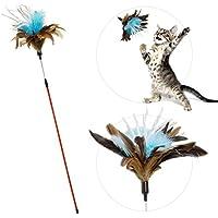 zaBouncer Katzenspielzeug (blau)   interaktiver Federstab mit Natur-Federn & Knisterpapier   Premium Federwedel   langlebige Katzenangel   hochwertige Materialien – artgerecht – stabil – unwiderstehlich - spannend