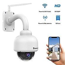 Dericam Caméra de sécurité extérieure sans Fil, caméra PTZ extérieure, Cristal Full HD 1080P, Zoom Optique 4X, Mise au Point Automatique, Carte mémoire préinstallée de 32 Go, Blanc S2-32G